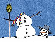 Humorous Greeting Cards Digital Art Prints - Headless Snowman Print by Nancy Mueller