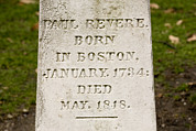 Cemeteries Photos - Headstone On Paul Reveres Grave by Tim Laman