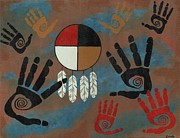 Medicine Painting Prints - Healing Hands Medicine Wheel Print by Jean Fry