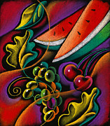 Harvest Art Painting Posters - Healthy fruit Poster by Leon Zernitsky