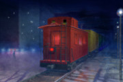 Caboose Digital Art Prints - Hear that lonesome whistle Print by Carol and Mike Werner