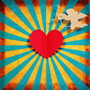 Cardboard Posters - Heart And Cupid On Paper Texture Poster by Setsiri Silapasuwanchai