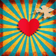 Heart And Cupid On Paper Texture Print by Setsiri Silapasuwanchai