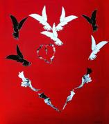 Peace Doves Framed Prints - Heart and doves on red Framed Print by Anahi DeCanio