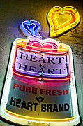 Gentlemen Framed Prints - Heart and Heart Neon Framed Print by Dean Harte