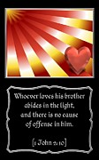 His Light Framed Prints - Heart and Love Design 1 with Bible Quote Framed Print by Rose Santuci-Sofranko