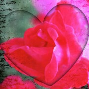 Valentines Day Digital Art - Heart and Rose by Cathie Tyler