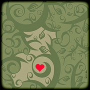 Vines Prints - Heart And Vines Print by HD Connelly