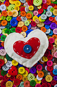 Sewn Framed Prints - Heart buttons Framed Print by Garry Gay