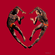 Male Portraits Digital Art Prints - Heart Dance Print by Walter Neal