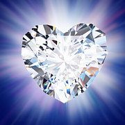 Gemstone Posters - Heart Diamond Poster by Setsiri Silapasuwanchai