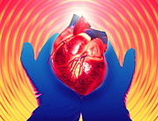 Donation Posters - Heart Donation Abstract: Gloved Hands Hold Heart Poster by Mehau Kulyk