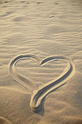 Aquitaine Metal Prints - Heart Drawing On Sand, Biscarrosse, Landes, Aquitaine, France Metal Print by Photo Division
