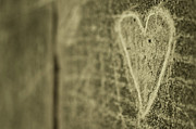 No Love Prints - Heart Engraved On A Wall Print by Gil Guelfucci