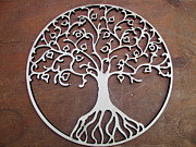 Tree Roots Pyrography Metal Prints - Heart-Fruit Tree Metal Print by Keith Cichlar