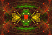 Abstract Designs Posters - Heart in Glass Poster by Sandy Keeton
