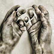 Hands Photo Metal Prints - Heart In Hands Metal Print by HD Connelly