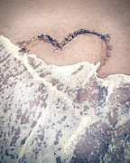 Heart Print Posters - Heart in the sand Poster by Nastasia Cook