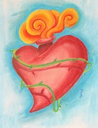 Scared Pastels Prints - Heart Print by Jennifer Perry