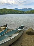 Adirondacks Photo Framed Prints - Heart Lake Canoes in Adirondack Park New York Framed Print by Brendan Reals