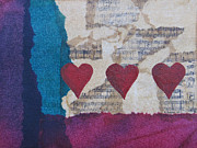 Kpappert Posters - Heart Music Mixed Media Collage Poster by Karen Pappert