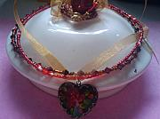 Food And Beverage Jewelry Originals - Heart o Fire by Melanie A Leon