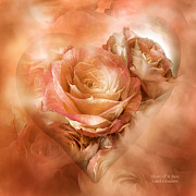 Heart Of The Rose Metal Prints - Heart Of A Rose - Gold Bronze Metal Print by Carol Cavalaris