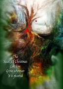 Heart Of Christmas Card Print by Carol Cavalaris