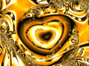 Valentine Day Digital Art Framed Prints - Heart of Gold Framed Print by Anastasiya Malakhova