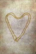 Chain Necklace Art - Heart Of Pearls by Joana Kruse