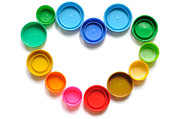 Bottle Cap Collection Posters - Heart of plastic bottle cap Poster by Ekawat Chaowicharat