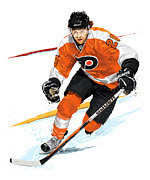 Skating Digital Art Posters - Heart of the Flyers - Claude Giroux Poster by David E Wilkinson