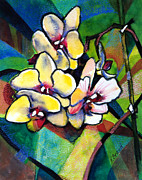 Yellow Line Prints - Heart of the Orchid Print by Kathy Braud
