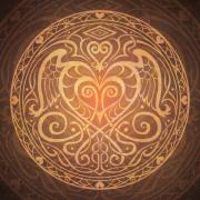 Art-deco Prints - Heart of Wisdom Mandala Print by Cristina McAllister