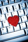 Internet Connection Framed Prints - Heart on keyboard Framed Print by Kati Molin