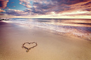 Sunset Reflection Prints - Heart On The Beach Print by Elusive Photography