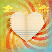 Draw Photos - Heart Paper Retro Design by Setsiri Silapasuwanchai