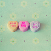 Western Script Art - Heart Shape Candies by Images by Debbie Wibowo