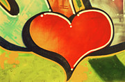 Painted Image Framed Prints - Heart Shape Graffiti, Close-up Framed Print by John Foxx