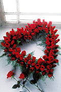 Wreath Art - Heart shape made of roses by Garry Gay