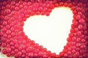 Food And Drink Art - Heart Shape Outlined By Red Cinnamon Candy by Kim Fearheiley Photography