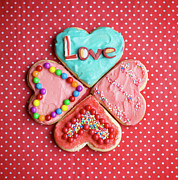 Western Script Prints - Heart Shaped Love Cookies Print by Kelly Sillaste