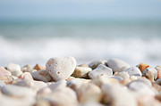 Large Group Of Objects Art - Heart Shaped Pebble On The Beach by Alexandre Fundone