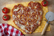 Cheese Framed Prints - Heart Shaped Pizza Framed Print by Garry Gay