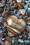Turquoise Metal Prints - Heart Stone Metal Print by Garry Gay
