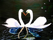 Swans... Paintings - Heart Swans by Angela Gale