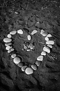 Petra - Jordan Prints - Heart Symbol Made Out Of Pebbles On The Beach At Aphrodites Rock Petra Tou Romiou Cyprus Print by Joe Fox