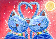 Two Animals Mixed Media Posters - Heart To Heart Poster by Lana Wynne