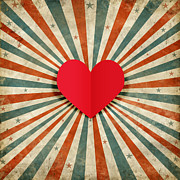 Retro Photo Posters - Heart With Ray Background Poster by Setsiri Silapasuwanchai