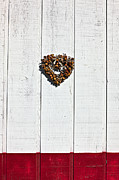 Romance Framed Prints - Heart wreath on wood wall Framed Print by Garry Gay